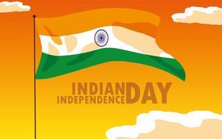 indisk självständighetsdagen affisch med flagga
