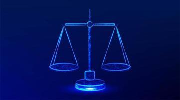 rättvisa skala blå glödande design vektor