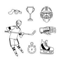 uppsättning hockeyutrustning och professionella enhetliga ikoner vektor