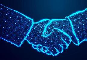 Handshake leuchtend blau abstrakt niedrig Poly Design vektor