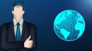 Geschäftsmann und digitaler Globusentwurf