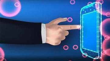 Hand zeigt auf Smartphone