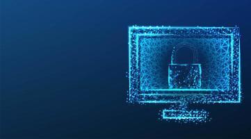 Datenschutzkonzept mit Sperre auf dem Computerbildschirm vektor