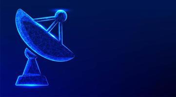 große Satellitenschüssel Antennenempfänger Low Poly Style vektor