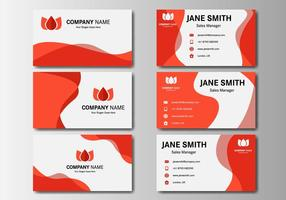 Gratis Red Business Name Card Vector