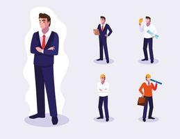 Satz von männlichen professionellen Arbeitern Design