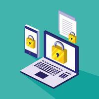 Cybersicherheit mit Laptop und Smartphone