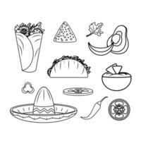 mexikansk matdesign Ikonuppsättning vektor