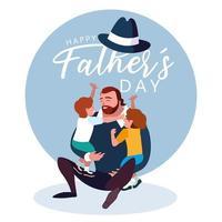 glückliche Vatertagskarte mit Vater und Kindern