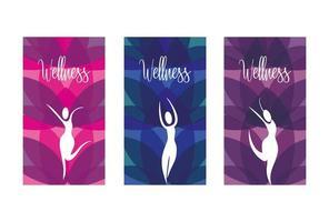 Satz von Wellness-Ikonen von Frauen mit Naturelementen