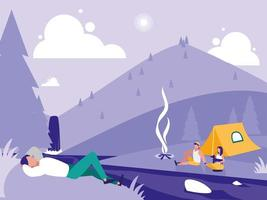 kreativt landskap med människor som campar vektor