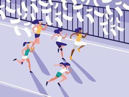 weiblicher Leichtathletik-Renn-Avatar-Charakter vektor