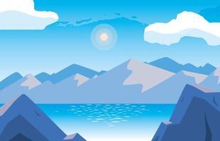 landskap med sjön scen ikon