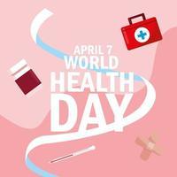 Weltgesundheitstagkarte mit Flaschenmedikamenten und -ikonen
