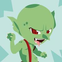 hässlicher märchenhafter Troll-Avatar-Charakter vektor