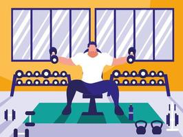 ung man lyfter hantlar i gymmet