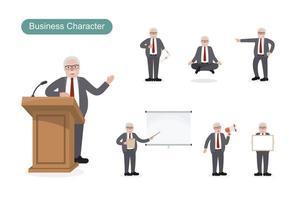äldre affärsman på jobbet vektor