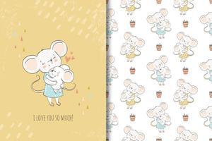 Mutter und Baby niedliche Mäuse Zeichen und Muster vektor