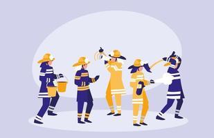Gruppe von Feuerwehrleuten Avatar Charakter vektor