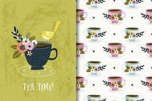 Teetasse mit Vogel und Blumen Zeichnung und Muster vektor