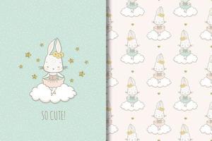Kaninchenballerina auf Wolkenzeichnung und -muster