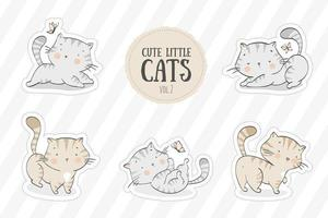 samling av handritade söta kattungar