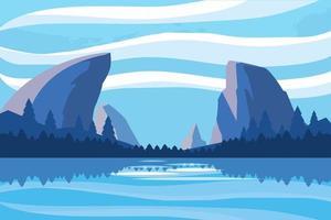 Landschaft mit Seeszenenikone vektor