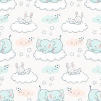nahtloses Hintergrundmuster des niedlichen Tieres der Karikatur. Elefant und Kaninchen schlafen auf der Wolke zwischen Sternen und Wolken am Nachthimmel.