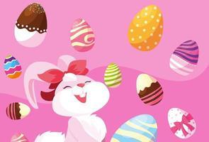 weibliches Kaninchen mit Ostereiern