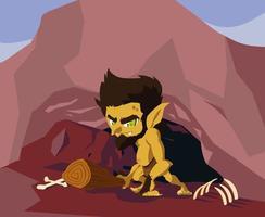 Höhlenmensch hässliches Märchen mit Knochen vektor