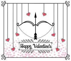 Alla hjärtans gratulationskort med pil och båge vektor