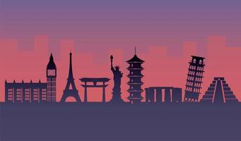 touristische Attraktionen Silhouette Design