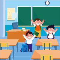 kleine Schüler Jungen im Klassenzimmer vektor