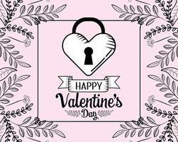 Alla hjärtans dag låst hjärta design vektor