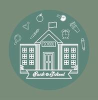 tillbaka till skolans design med byggnad och ikoner