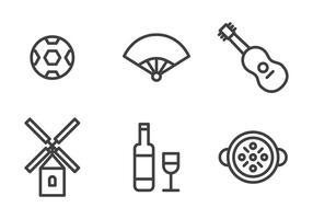 Spanska ikonuppsättning vektor