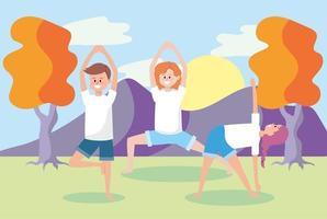 junge Leute machen Yoga im Freien vektor