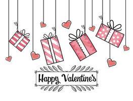 Alla hjärtans dag presenter med hjärtan design vektor
