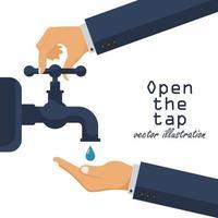 Hände öffnen einen Wasserhahn vektor