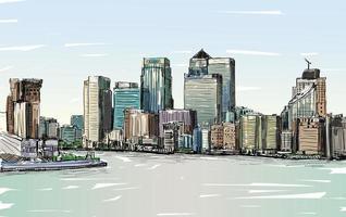 Farbskizze von Londons Stadtbild vektor