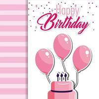 födelsedagskortmall med rosa tårta och ballonger vektor