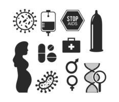 hjälpmedel förebyggande silhuett ikonuppsättning