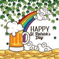 st. Patrick Day Design mit einem Glas Bier vektor
