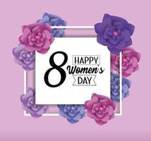 kvinnors gratulationskort med blommor vektor