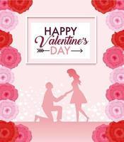 Blumendekoration mit Paar zum Valentinstag