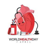 världens hälsodag med hjärtorgan och medicin vektor