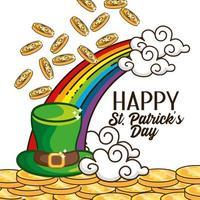 st. Patrick Day Banner mit irischen Hut und Regenbogen vektor