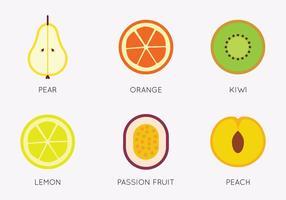 Sats av platta frukter vektor