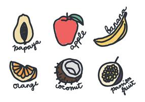 Klotter av frukt vektor