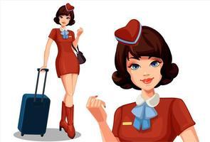 ung vacker flygvärdinna med resväska vektor